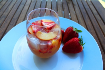 Strawberry Peach Colombard Chardonnay sangria