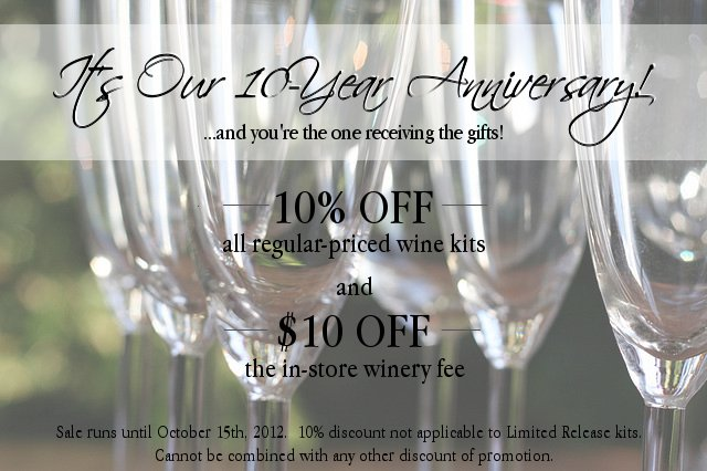 Wine Kitz Pickering 10th Anniversary Sale